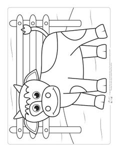 Farm Animals Coloring Pages for Kids - Itsy Bitsy Fun Farm Animals Preschool, Farm Animal Crafts, Animal Projects, Kindergarten Coloring Pages, Farm Animal Coloring Pages, Colouring Pages, Cow Craft, Farm Quilt, Craft Ideas