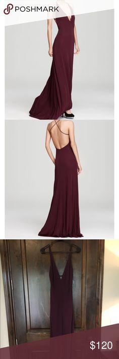 Backless deep purple gown Cross strap, low back, deep v in front, front slit. ABS Allen Schwartz Dresses Backless