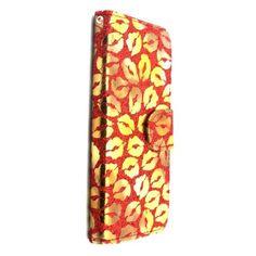 Mesh - iPhone 6 Hoesje - Wallet Case Gouden Zoen Lippen Rood | Shop4Hoesjes