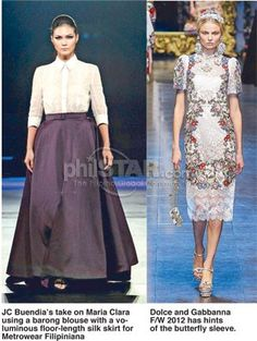 The rise of modern Filipiniana - The Philippine Star Modern Filipiniana Gown, Filipiniana Wedding, Fashion 101, Star Fashion, Barong Tagalog For Women, Filipino Fashion, Philippines Fashion, Ethnic Outfits, Beige Dresses