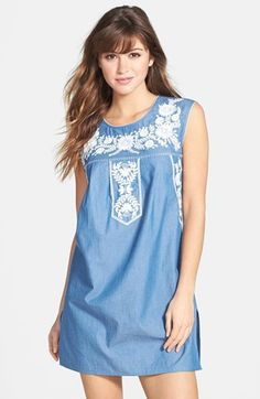 $325, Blue Embroidered Casual Dress: Tory Burch Calita Embroidered Dress. Sold by Nordstrom. Click for more info: https://lookastic.com/women/shop_items/62255/redirect