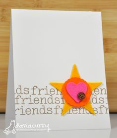 Friends stamp, add star, heart, flower punched
