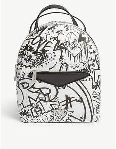 0a6eb6302f09 MICHAEL MICHAEL KORS Jessa graffiti-print small leather cross-body backpack