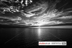 A sunset on Baltic Sea is really unforgettable.  This impression in black-and-white. Shutterstock.com Stockphoto-ID: 438797512 #sunset #lights #horizon #balticsea #water #sky #clouds  #blackandwhite #coast #distance #boat #travel #holiday #wanderlust #sweden #sonnenuntergang #meer #wolken #küste #fernweh #urlaub #schiffsreise #schwarzweiss #sehnsucht #ostsee #schweden #solnedgång #fartygsresor #svartvita #hav