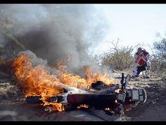 Dirt Bike blows up. KTM on fire.