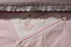 """Baby girl's blanket Hand embroidered, """"Washing line"""" in light rose and white, nursery gift, birthday gift, baby shower, baby beddings, home"""