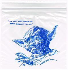 """Yoda Sandwich Bag Art /// by Flickr user """"rnemec"""""""