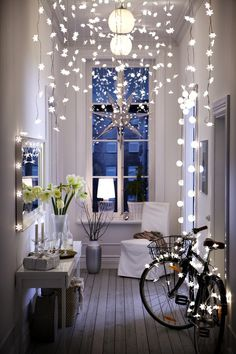 Twinkle, Twinkle - beautifully styled interior with a clever use of fairy lights for decoration / from the Ikea Christmas catalog . Decoration Inspiration, Interior Inspiration, Decor Ideas, Hallway Inspiration, Interior Ideas, Ikea Inspiration, Beautiful Decoration, Daily Inspiration, Room Interior