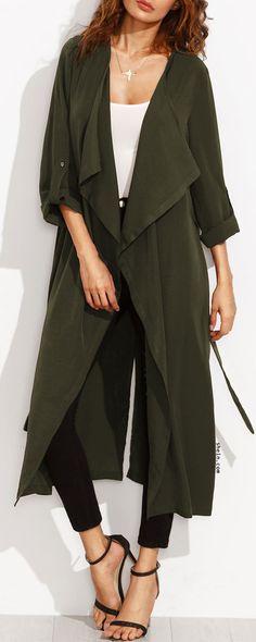 Rolled Up Sleeve Split Back Self Tie Coat
