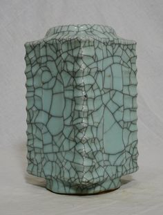 """Chinese Celadon Crackle Porcelain Cong Shape Vase 9.5"""" height x 4.75"""" wide."""