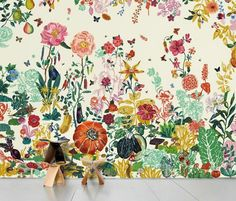 Nathalie Lete Great Meadow Mural in Yellow Size: One Size Wall Decor from Anthropologie. Saved to Things I want as gifts. Unique Wallpaper, Home Wallpaper, Nature Wallpaper, Scenic Wallpaper, Amazing Wallpaper, Flower Wallpaper, Apartment Wallpaper, Beige Wallpaper, Landscape Wallpaper