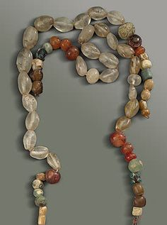 Rock Crystal and Carnelian Beads, 8th Century.