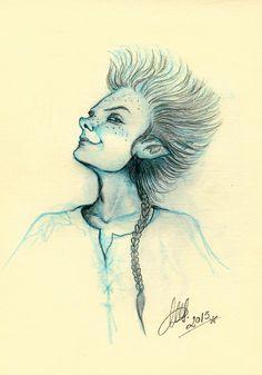 Sketch of an elf. © Marta Sarmiento, 2015.  www.martash.com www.facebook.com/dibujandohadas