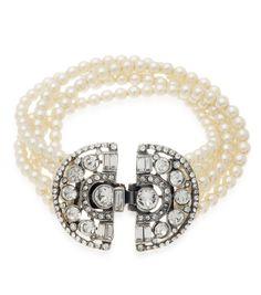 Thomas Laine - Deco 5 Row Pearl and Crystal Bracelet, $320.00 (http://www.thomaslaine.com/ben-amun-bridal-deco-5-row-pearl-crystal-bracelet-30070338p/)