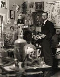 Artist Mark Ryden in his studio