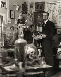 artist Mark Ryden in his studio. THIS is what I'm aiming for with our living room. Speeeecimens!