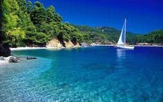 Adrinas beach (left) & Panormos Town (background), Skopelos Island, Northern Sporades in the Aegean Sea, Greece ✯ ωнιмѕу ѕαη∂у