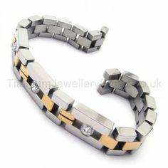 With Diamond Titanium Two-tone Men's Bracelet 18511