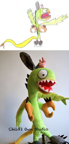 This company makes toys from children's drawings!  I hope they're still doing it when T's older!