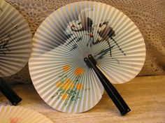 Vintage Paper Fan With Black Crane Birds and Yellow Flowers,  Collector's Item, by SterlingHeirloom on Etsy