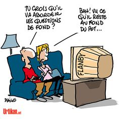 """Hollande «en direct avec les Français» sur TF1 - """"Jusqu'au fonds avec un flanby"""" - Dessin du jour - Urtikan.net"""