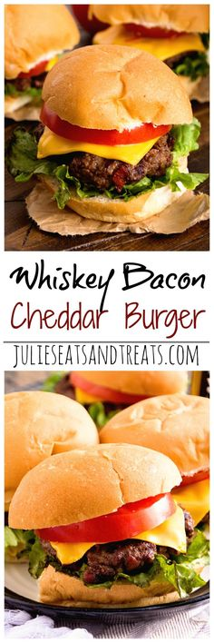 Whiskey Bacon Cheddar Burger ~ Plump, Juicy Burger with a Hint of Whiskey and Loaded with Bacon and Cheddar Cheese! The Perfect Burger Recipe for Grilling!
