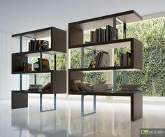This large shelving unit would make your life a hell of a lot easier. http://moderncontempo.com/elevate-3-modern-grey-display-unit-6864.html