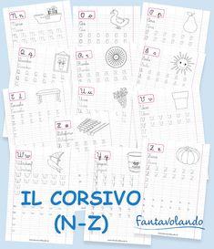 Le schede del corsivo | Fantavolando Education, Alphabet, Speech Language Therapy, School, Educational Illustrations, Learning, Studying