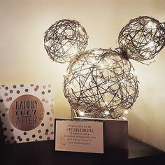 Mickey Mouse decoration using twine and string lights #disney #craft #disneycraft #diy