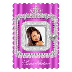 Sweet 16 Sixteen Hot Pink Lace Pearl Photo Announcements
