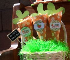 Cute popcorn cones at an Easter Party!  See more party ideas at CatchMyParty.com!