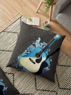 « Blue guitar - guitare - musique- instrument » par LEAROCHE Instruments, Tote Bag, Bags, Cushions, Products, Music, Purses, Tools, Tote Bags