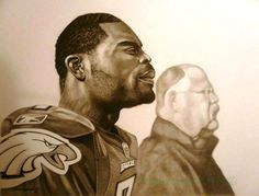 Michael Vick and Andy Reid of the Philadelphia Eagles  by Manasseh Johnson