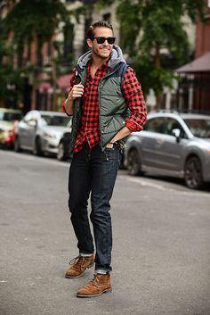 Ralph Lauren checked shirt | Levis 510 jeans | Cotton On vest |