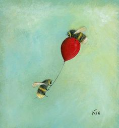 Neil Thompson's bee and wildlife art creations are often steeped in mystery and each painting has a narrative of its own. I Love Bees, Printed Balloons, Cute Bee, Bee Tattoo, Bee Art, Bee Theme, Bee Happy, Save The Bees, Bees Knees