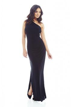 One Shoulder Leg Split Slinky Maxi Dress - AX Paris