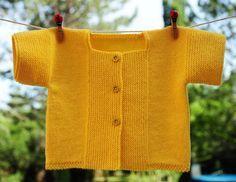 layette brassière coton jaune 3 mois neuve tricotée main : Mode Bébé par com3pom