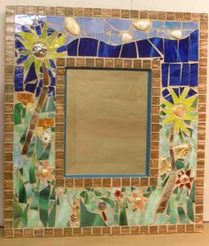 Mosaic mirror made with stained glass & old jewelry