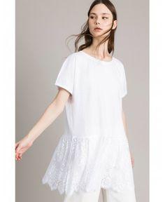 14beea1151 Maxi camiseta de algodón con volante ancho de encaje de chantilly en los  bajos