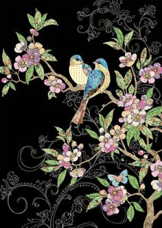 Bug Art m123 birds & blossom greetings card