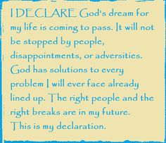 I DECLARE God's dream for my life is coming to pass.  Day #8 from I DECLARE: 31 Promises to Speak Over Your Life by Joel Osteen