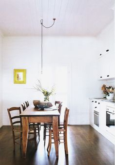 white, lots of meduim-toned wood, pop of yellow