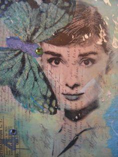 FLUTTER Original Mixed Media Collage with Swarovski Crystals-Audrey Hepburn Cindy G's collage creations
