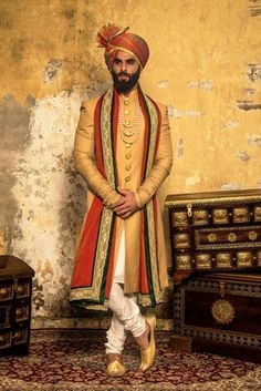 PuneetandNidhi presents wide collection of wedding sherwani for men in Noida, Delhi NCR & California. Designer and stylish Royal Sherwani collection. Indian Groom Dress, Wedding Dresses Men Indian, Wedding Dress Men, Wedding Men, Wedding Groom, Wedding Outfits, Saree Wedding, Wedding Ideas, Marathi Wedding