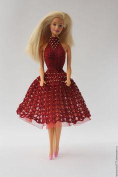 Купить Подружка - голубой, одежда для кукол, подарок для девочки, вязание спицами, барби, украшение бисером
