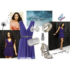 Emily outfit: blue crossover chiffon gathered dress, dangly circular diamond earrings, diamond cuff bracelet, silver sequin clutch, silver 'Shatter' nailpolish, silver sandal heels