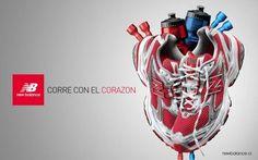 Imagen de función comercial. Es una campaña de New Balance cuyas zapatillas tienen forma de corazón.