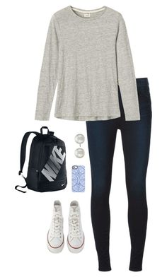 """For School"" by morganhaley45 on Polyvore featuring J Brand, Toast, Converse, Uncommon, NIKE and Kenneth Jay Lane"