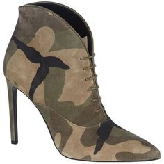 Saint Laurent Paris 105 Camouflage Ankle Boot (2,690 PEN) ❤ liked on Polyvore featuring shoes, boots, ankle booties, short suede boots, short boots, suede lace-up boots, pointed-toe ankle boots and lace up ankle booties