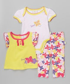 Yellow & Pink Butterfly Bodysuit Set - Infant